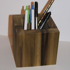 Pencil cup Pen cup Wood Pencil cup Office Desk organizer Square modern Pencil cup School office supplies Rustic pencil cup Cube Pencil cup