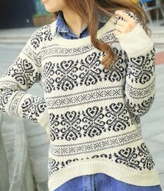 Loose fitting snowflake knit sweater