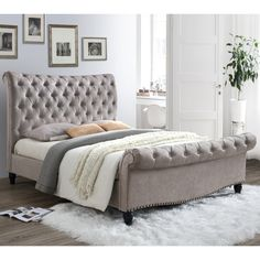 Stunning, luxuriously upholstered super king size bed frame with scroll finish at head and foot. Finished in a rich mink velvet fabric with upholstery stud detailing. Velvet Upholstered Bed, Upholstered Bed Frame, Headboard And Footboard, Tall Headboard, Headboards, Super King Size Bed, King Size Bed Frame, King Size Beds, Super King Bed Frame
