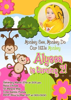 Girls Monkey Birthday Invitations by PinkSkyPrintables on Etsy, $11.00