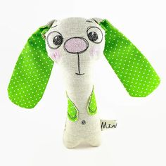 Natural Linen Bunny Rattle  Personalized Baby Toy  by MiaPuPe