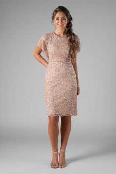 Sparkle knee length dress, style Nessa, is part of the Wedding Collection of LatterDayBride, a Salt Lake City bridal shop. Source by homecoming dresses Modest Homecoming Dresses, Hoco Dresses, Modest Dresses, Semi Formal Dresses Modest, Blush Dresses, Formal Knee Length Dresses, Semi Formal Dresses For Wedding, Knee Length Bridesmaid Dresses, Chiffon Dresses