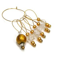 Knitting Stitch Markers Set, Snag Free, DIY Knitting Tools, Gift for Knitter, Gold, Clear, TJBdesigns