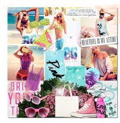 """Bright Young Things: PINK Spring Break Style Off!"" by kristinksn ❤ liked on Polyvore"