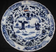 ANTIQUE CHINESE PORCELAIN B & W HUGE PLATE CHARGER, 19TH C., XUANDE MARK, NR.