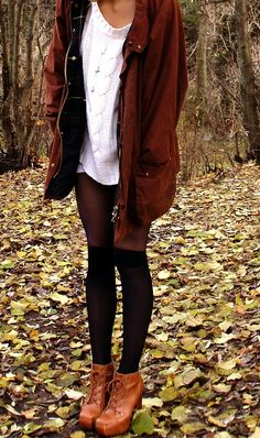 brown jacket and boots with tights