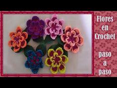 FLOR TEJIDA en crochet PASO A PASO muy FACIL DE HACER - YouTube