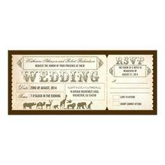http://www.zazzle.com/zoo_wedding_invitation_tickets-161616058235529421  Zoo wedding invitation tickets.  $2.15/ card