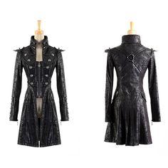 Steampunk Millitary Gothic Coat Female Long Sleeves Wind Leather Jacket For Women 2017 Army Long Windbreakers Womens Jackets Style Lolita, Lolita Mode, Alternative Mode, Alternative Fashion, Coats For Women, Jackets For Women, Clothes For Women, Women's Jackets, Gothic Mantel
