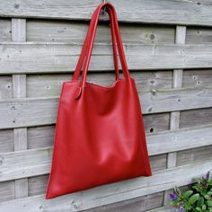 Leather Tote bag / shopper Rinarts in beautiful red Italian leather handmade by rinarts