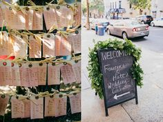 watercolor escort cards - photo by Love Katie and Sarah http://ruffledblog.com/a-brooklyn-wedding-for-two-actors