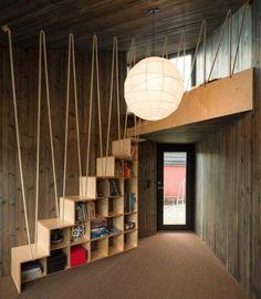 escalier et meuble de rangement 2 en 1 en bois et corde solide