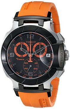 Quick and Easy Gift Ideas from the USA  Tissot Men's T0484172705704 T-Race Quartz Orange Strap Chronograph Dial Watch http://welikedthis.com/tissot-mens-t0484172705704-t-race-quartz-orange-strap-chronograph-dial-watch #gifts #giftideas #welikedthisusa