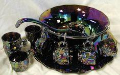 Black Amethyst Carnival Glass Punch Bowl Set