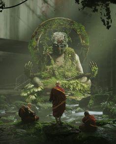 Buddhist priest, in meditation. I know it not fantasy just didn't where else to put it. Fantasy Landscape, Fantasy Art, Buddha Art, Environment Concept Art, Art Plastique, Belle Photo, Cool Art, Scenery, Illustration Art