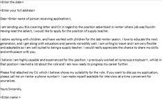 Wonderful Supply Teacher Cover Letter Example