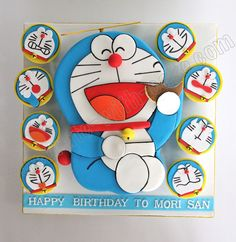 Celebrate with Cake! Doraemon Cake, Doraemon Cartoon, Cartoon Cakes, Fondant Cupcakes, Cupcake Cookies, Fancy Cakes, Cute Cakes, Cartoon Charecters, Anniversary Cupcakes