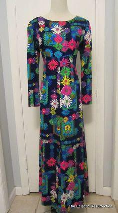 Vintage Empire Waist Maxi Dress  Neon Dayglow Flower by linbot1, $60.00