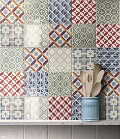 Rustic gloss mixed patterned wall tile from Equipe Tiles. Small tiles at - perfect for giving rooms a boost of colour and interesting focal point. Decorative Wall Tiles, Ceramic Wall Tiles, Tile Art, Mosaic Art, Cement Tiles, Patchwork Tiles, Patchwork Patterns, Patchwork Kitchen, Kitchen Wall Tiles