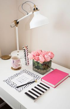 Pretty Office Supplies, There is something about Hot pink and Black and White prints that TOTALLY draws me in! Pink Office Decor, Home Office Decor, Supply Room, Cute Office Supplies, Mirrored Side Tables, Bath And Beyond Coupon, Black Decor, Home Decor Styles, Decoration