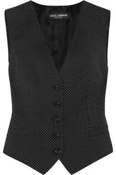 Dolce & Gabbana - Polka-dot Wool And Satin Vest - Black - IT38