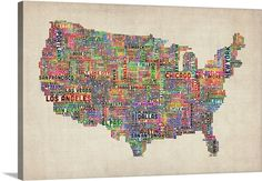 United+States+Cities+Text+Map,+Multicolor+on+Parchment+