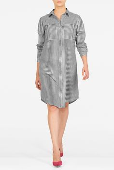 Woven stripes pattern our casually chic cotton shirtdress shaped with a front and back yoke and carefully placed darts at the bodice. Dress Outfits, Casual Dresses, Short Dresses, Hijab Fashion, Fashion Dresses, Modele Hijab, Cotton Shirt Dress, Over 50 Womens Fashion, Blouse