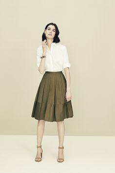 Fresh white button down + pretty poplin skirt = pep in step, guaranteed all season long.