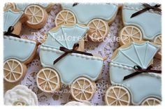 Decorated Blue Baby Buggie, Baby Stroller, Baby Carriage; Shortbread Sugar Cookies; Robin's Egg Blue, Robin's Egg Blue, White, Favors