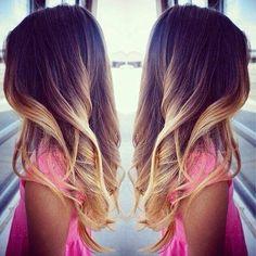 Ombrage cheveux brun foncé et blond