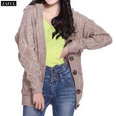 ZAFUL Khaki Grey Knitted Long Cardigan Sweater For Women Long Sleeve Casual Hooded Women Coat Fall Vintage Women Single Breast