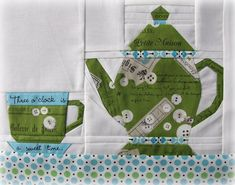 Charise Creates: *Tea Time Pattern* -- Inspiration; photos show details of piecing cups and teapots.