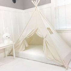 Handmade All Natural Cotton Canopy Play Tent Toddler Bed. Comes with Doors! Great for Transitioning from Crib to Bed Toddler Day Bed, Toddler House Bed, House Frame Bed, House Beds, Bed Tent, Canopy Tent, Princess Canopy Bed, Hanging Tent, Big Beds