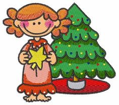 Girl with Xmas Tree Embroidery Design | AnnTheGran