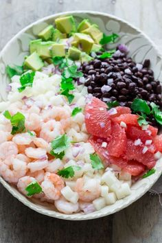 This Mexican jicama shrimp salad is the perfect light meal and the left-overs will make a stellar healthy lunch too! It has jicama, grapefruit and avocado! Best Vegetable Recipes, Raw Food Recipes, Healthy Recipes, Scd Recipes, Vegetarian Recipes, Dinner Recipes, Lettuce Salad Recipes, Shrimp Salad Recipes, Seafood Recipes