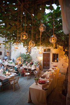 """The wedding began with a Welcome Pizza Party in the Medieval Borgo of the villa. The mood was rustic, vintage but refined.""  #Tuscany Brenda Babcock, http://www.italia-celebrations.com"