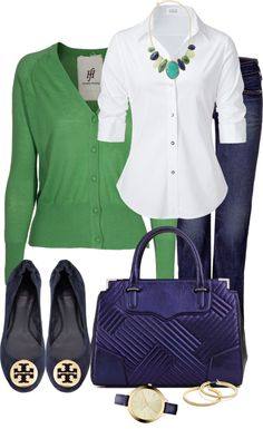 """Navy and Green"" by averbeek on Polyvore - Friday work outfit"