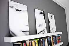 large canvas shots of close-ups of the children, lean them on a shelf