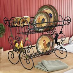 Dish Drainer, Rooster from Seventh Avenue ® ((wrought-iron-stuff)) Rooster Kitchen Decor, Rooster Decor, Rooster Plates, Country Kitchen, New Kitchen, Kitchen Dining, Room Interior, Interior Design Living Room, Chicken Kitchen