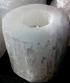 Design-Teelicht Selenit aus Edelstein Naturstein  Turm  Größe ca. 12 cm Deko
