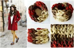 Chunky Hand Knitted Infinity Scarf Red Beige Brown by JPHandmades on Etsy