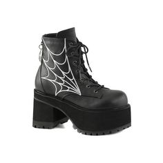 Women's Demonia Ranger 105 Ankle Boot - Black Vegan Leather Ankle... ($82) ❤ liked on Polyvore featuring shoes, boots, ankle booties, ankle boots, black platform boots, short black boots, black lace-up boots and black bootie