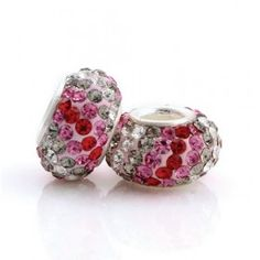 Silver Red Pink White Stripes Crystal Bead