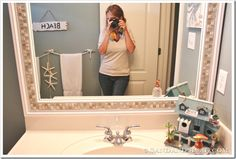 Glue tile to mirror | Apply outdoor mounting adhesive to the back of the frame on the ...