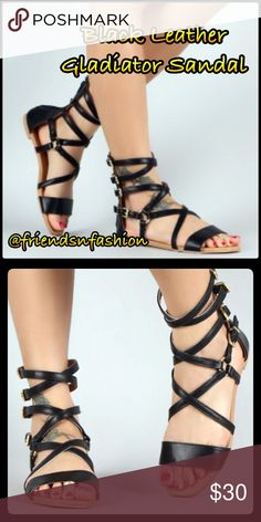 """List! Black Leather Gladiator Sandal! NEW! Perfect for most any occasion! Your next""""go to"""" shoe! Black vegan leather. Four buckle adjustments for a perfect fit! New in box direct from wholesaler. Size 5.5 - 10. Friendsnfashion Boutique Shoes Sandals"""