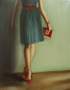 The Reader With Red Shoes by Janet Hill
