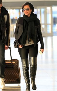 over the knee boots / all black/ leather