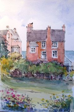 Original Watercolour Painting - Holiday House - by Annabel Burton Watercolor Pictures, Pen And Watercolor, Watercolor Artists, Watercolor Landscape, Watercolour Painting, Painting & Drawing, Watercolours, Chiaroscuro, Watercolor Architecture