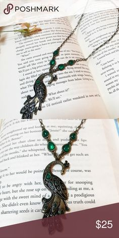 Peacock Necklace Beautiful peacock necklace with green accents. Lobster clasp. Jewelry Necklaces