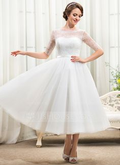 A-Line/Princess Scoop Neck Tea-Length Tulle Charmeuse Lace Wedding Dress With Bow(s) (002055922)